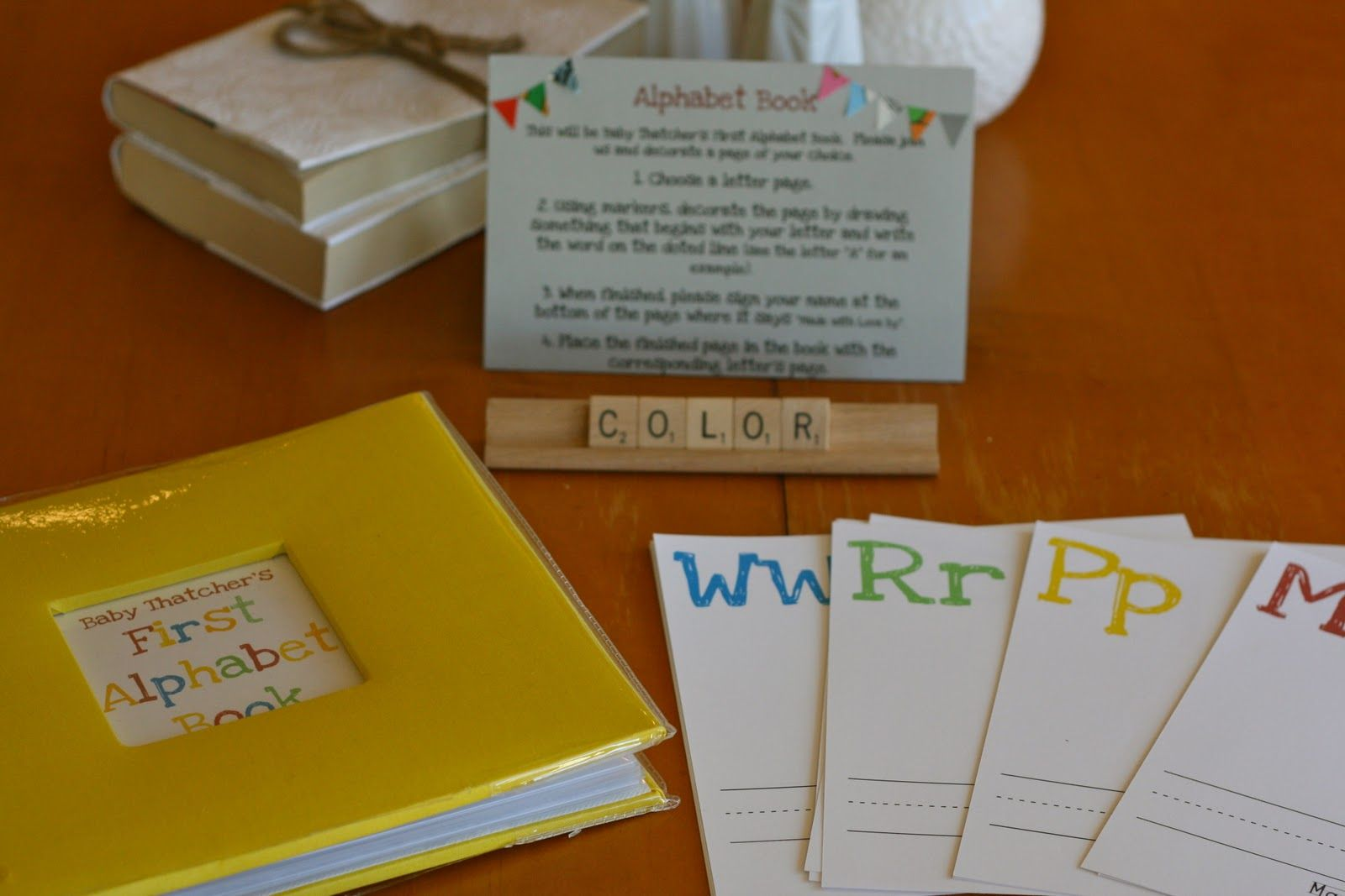 Baby Shower Alphabet Book The Dotted Lines Are Cute For Guests To Write The Word