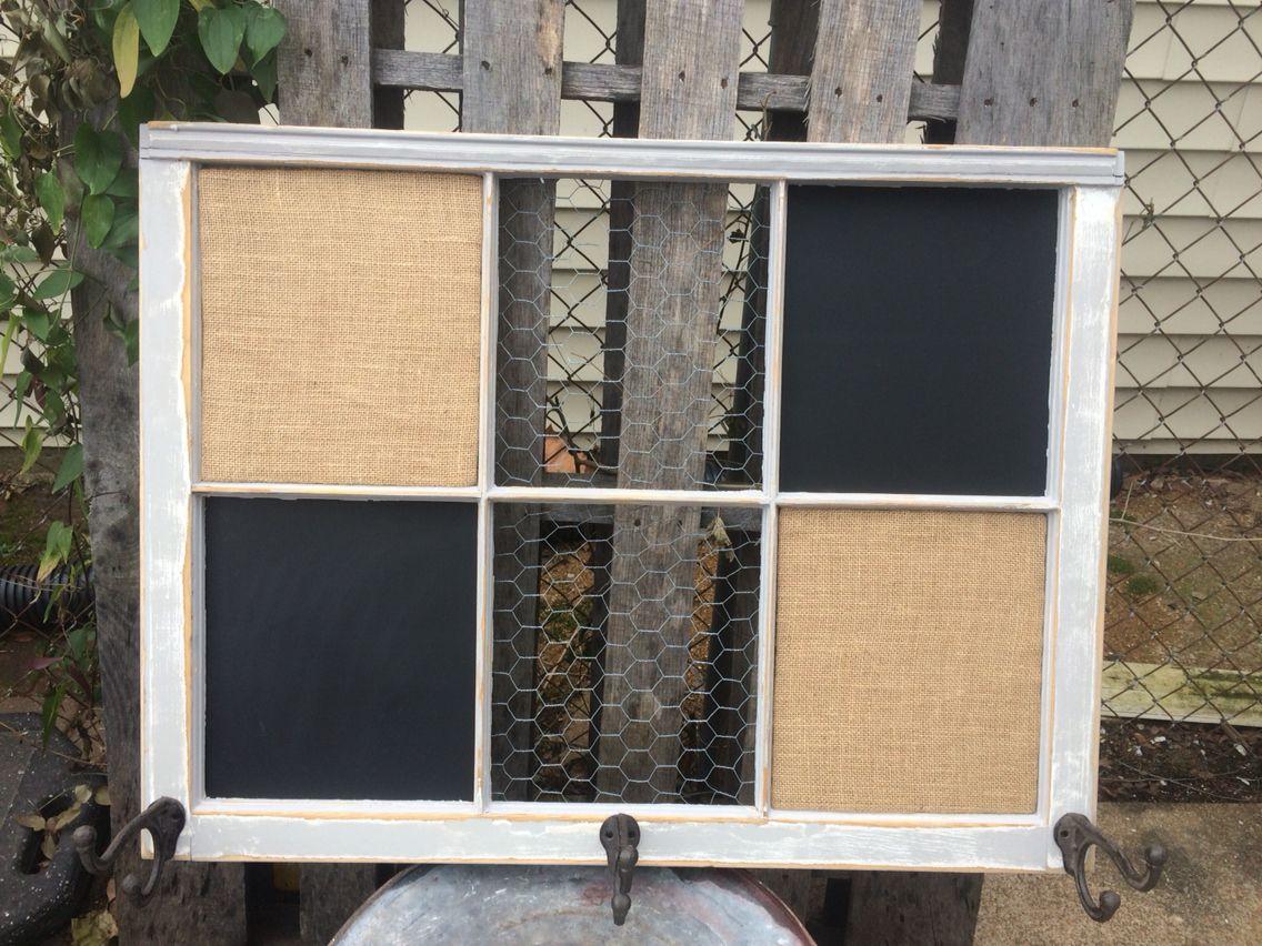 Reclaimed old window bulletin board. Magnetic chalkboard. Chicken ...