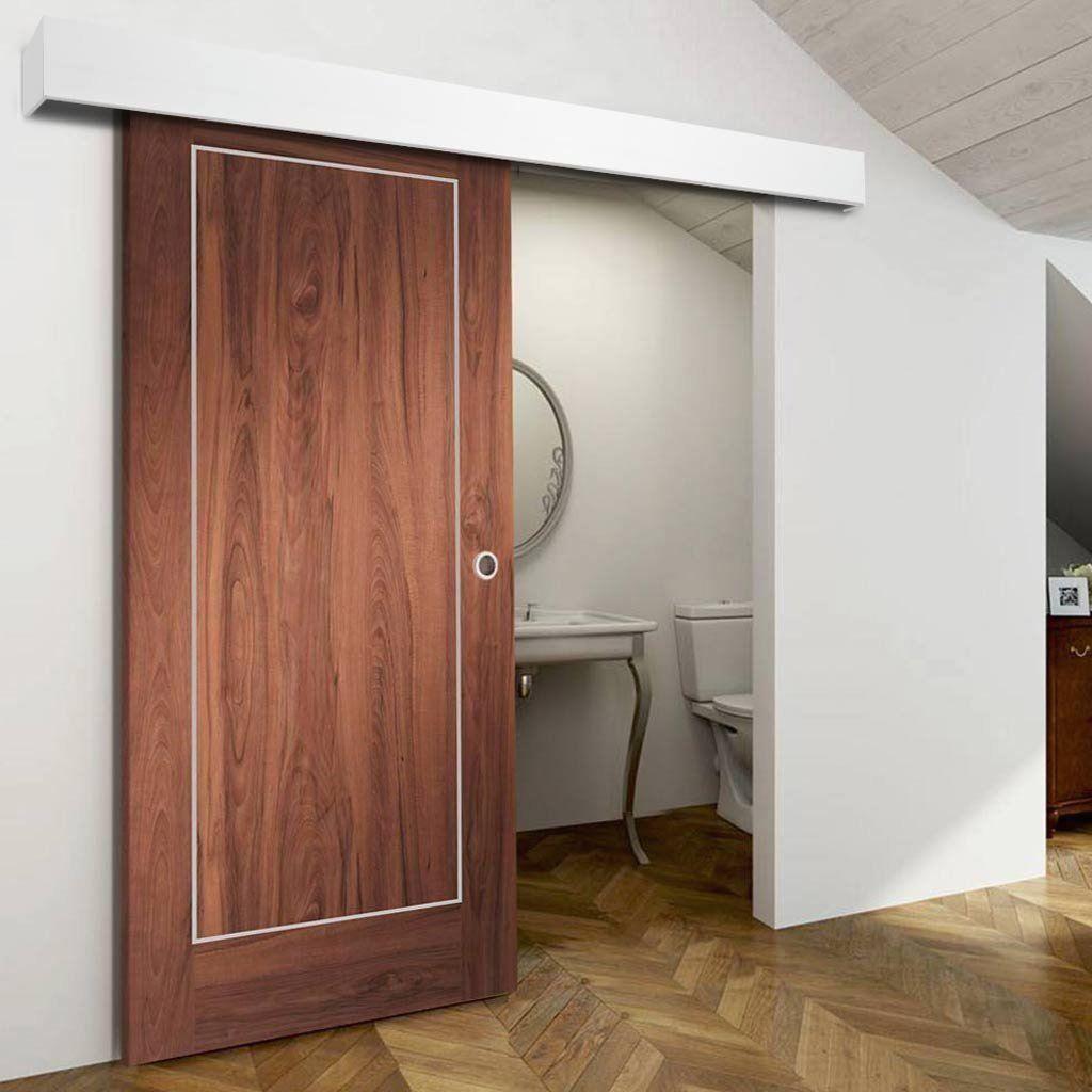 Single Sliding Door Wall Track Varese Walnut Flush Door Aluminium Inlay Prefinished 1 In 2020 Sliding Doors Sliding Glass Door Sliding Door Window Treatments