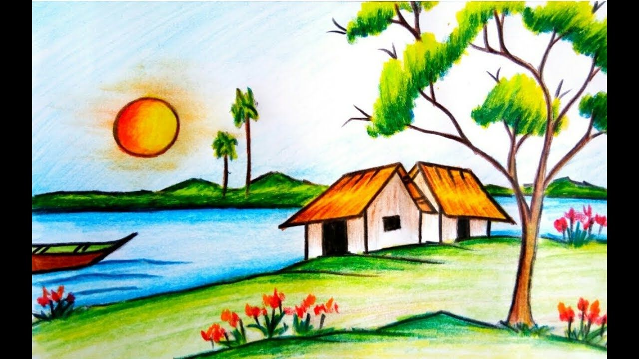 Colored Pencil Drawings Scenery Colour Pencil Drawing Of Scenery