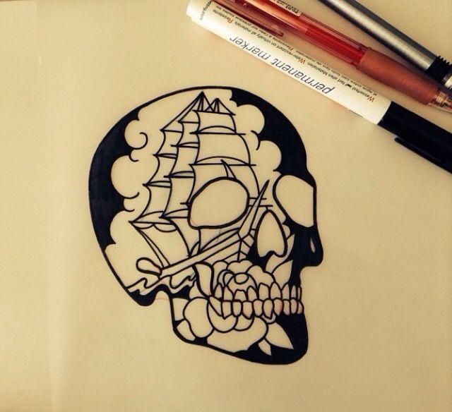 Traditional Flash Skull Tattoos: B54bd7ad4be8b6c92df4d9804475afbc.jpg (640×584)