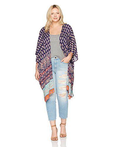8ed894e9ed669 Angie Women s Plus Size Printed Kimono Duster Long Cardigan