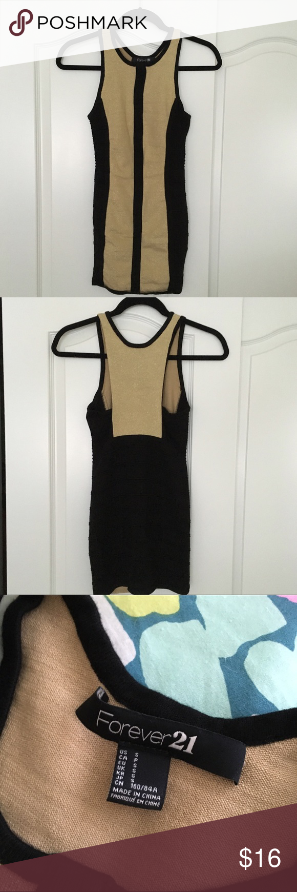 Forever 21 Black and Gold Bandage Dress Black and gold bandage mini dress. Fits like an XS but has some stretch to it. Runs short. Only worn once. Forever 21 Dresses Mini