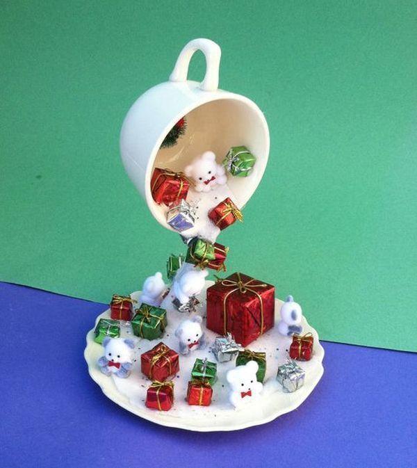 17 Erstaunliche Weihnachtsdekorationen mit Ornamenten aus Tassen, Ideen, die unsere Kreativität anregen #christmasdecorideas