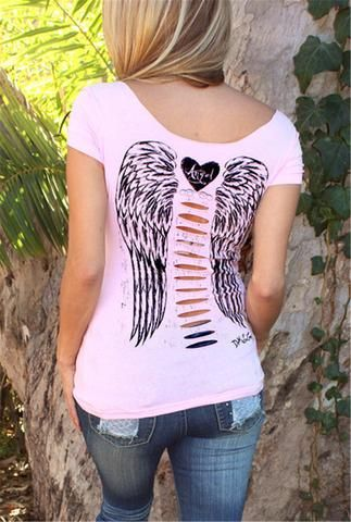 01b7ef1a76044 Pink Women S T Shirt Hollow Angel Wings T-Shirt Tops Summer Style Woman  Short Sleeve Tops Sexy Slim V Neck Clothing Plus Size