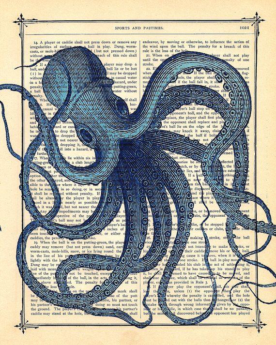 Blue OCTOPUS - Original Art Print- OCTOPUS art featured on HGTV, dictionary antique book page print