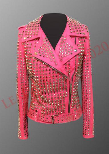 Women Gold Stud leather jacket, women studded Handmade Pink fashion jacket on Storenvy