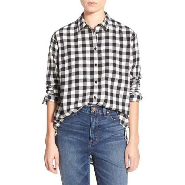 Madewell Check Oversize Shirt ($80) ❤ liked on Polyvore featuring tops, true black, oversized shirt, black oversized shirt, long sleeve plaid shirts, long sleeve tops and black top