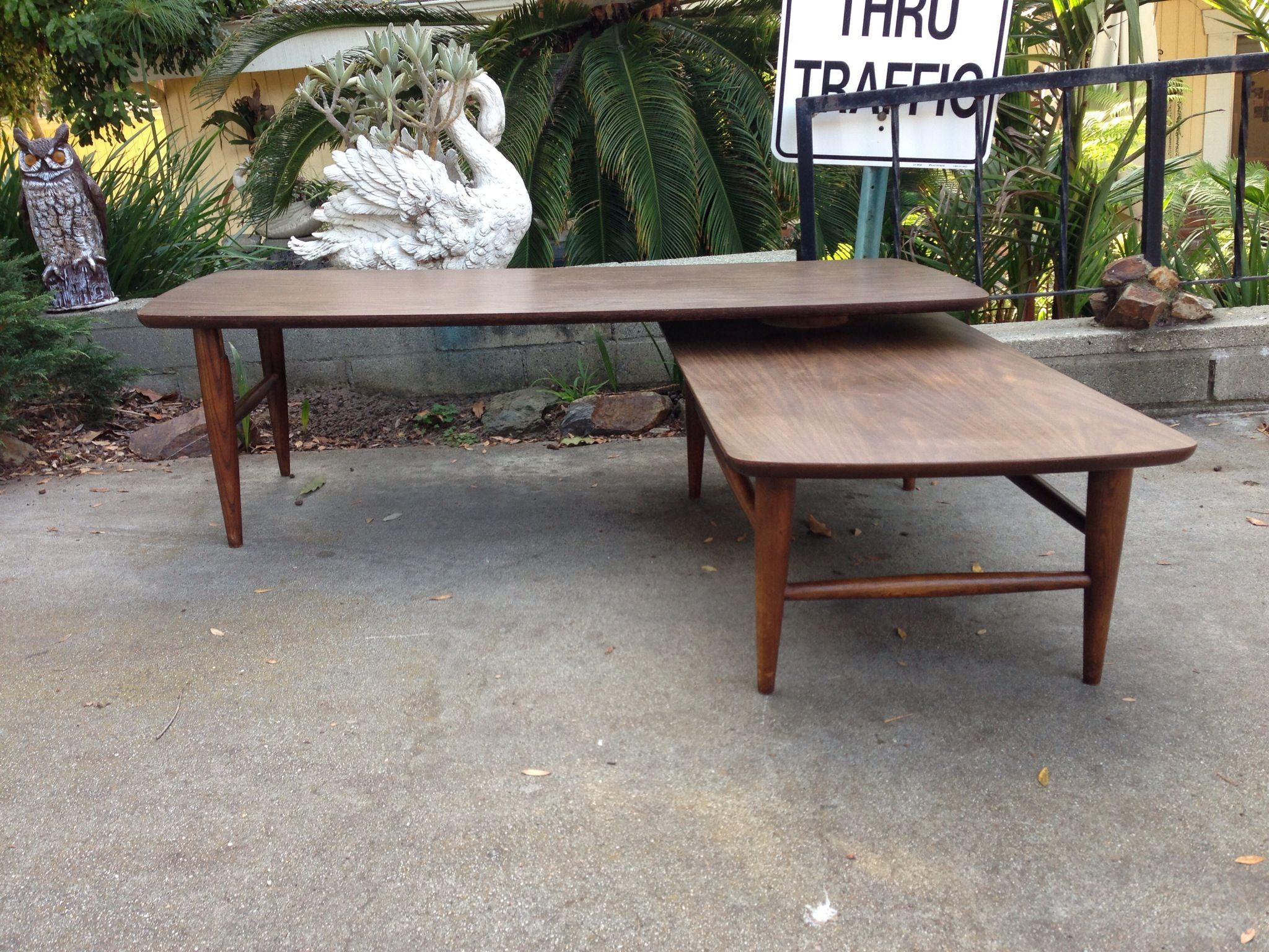 Mid century swivel bi level coffee table