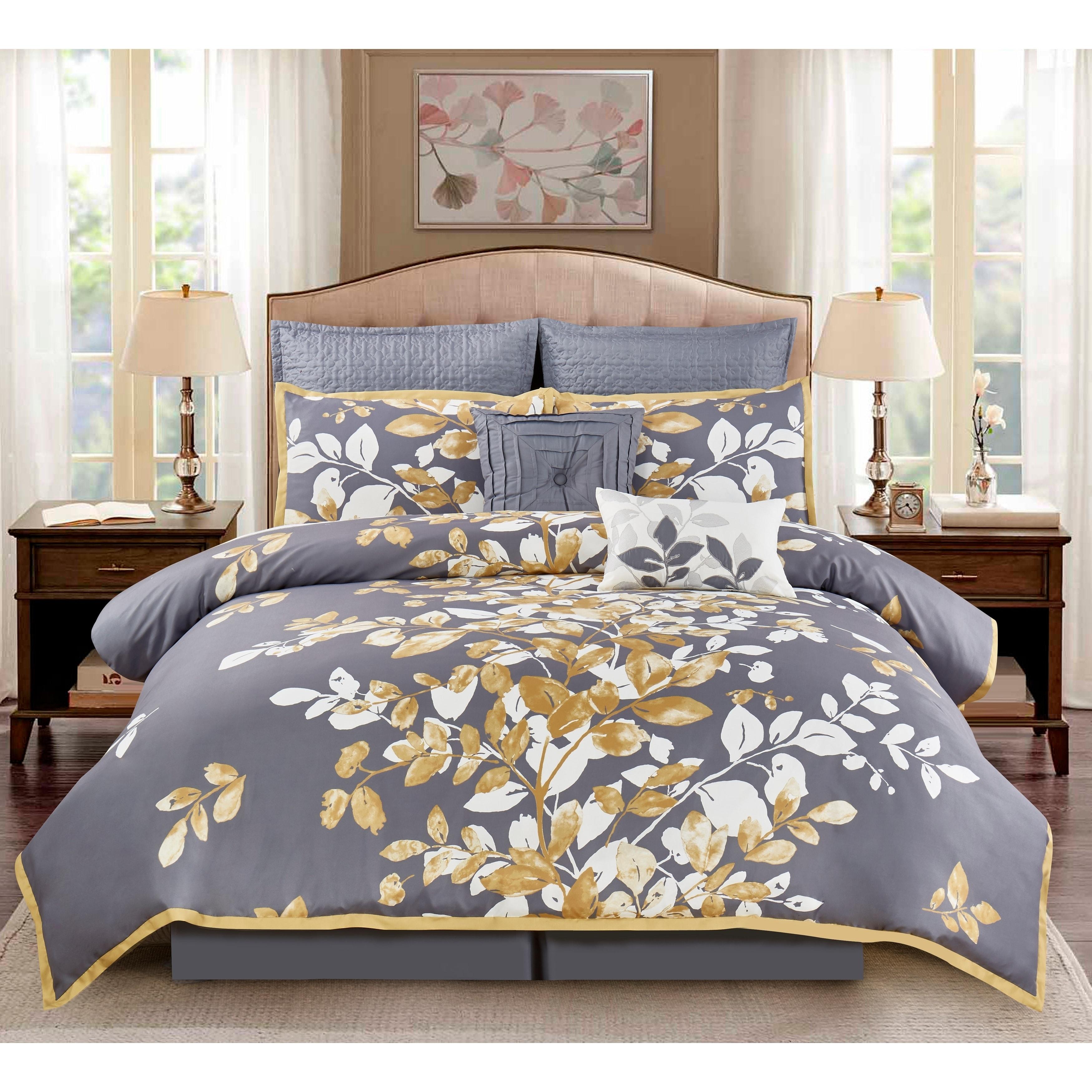 Wonder Home Mila 8PC Embellished forter Set King Grey
