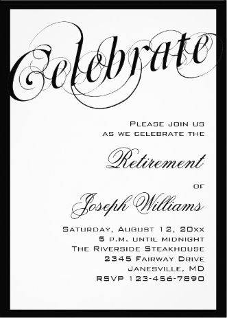 Elegant Black \ White Retirement Party Invitations Retirement - farewell party invitation template
