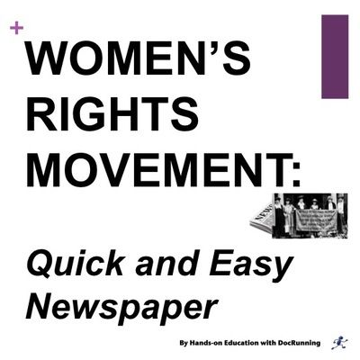 Women's Suffrage Movement: Susan B. Anthony, Elizabeth Cady Stanton and more from DocRunning Education on TeachersNotebook.com -  (26 pages)  - Skip the lecture!  Introduce students to the suffrage movement through this inquiry-based quick and easy newspaper project.  Cooperative learning and engaging activity!