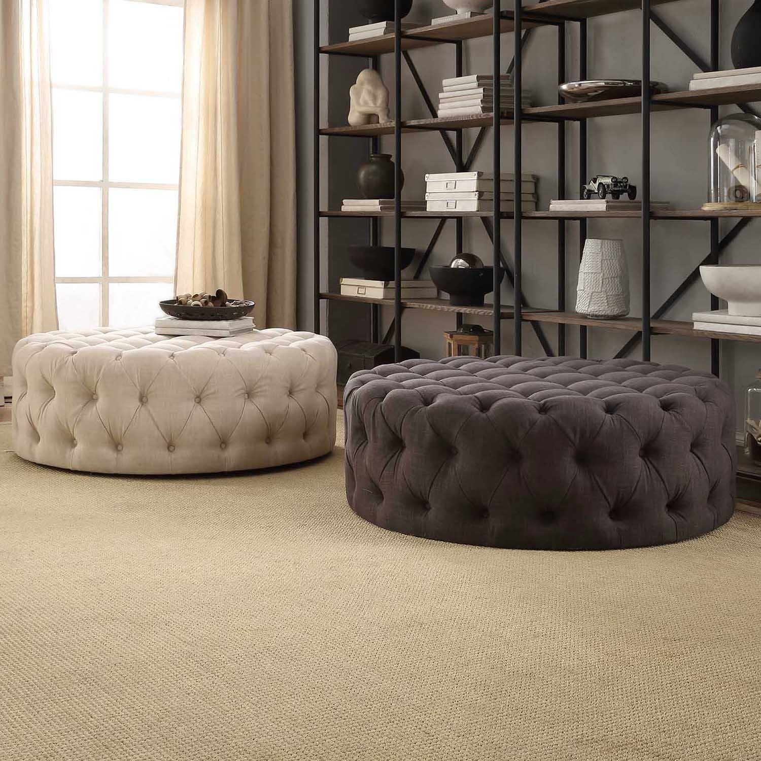 Knightsbridge round linen tufted cocktail ottoman with casters great room furniture Linen ottoman coffee table
