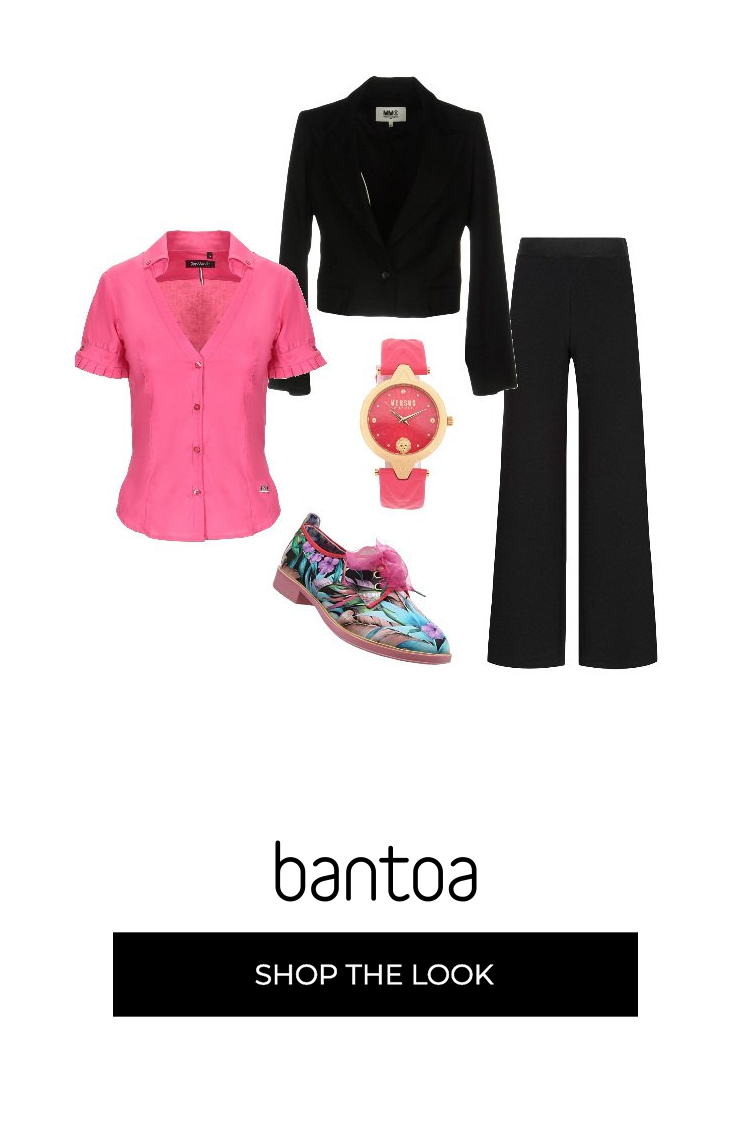big sale 6c23e 10f16 Giacca e pantaloni neri ravvivati dalla camicetta rosa e ...