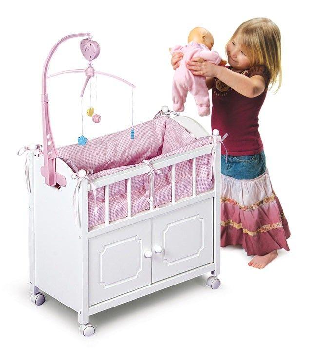 Badger Basket Gingham Doll Crib Cabinet Bedding Mobile Wheels White Cradle Baby
