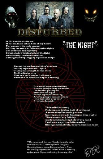 The Night Disturbed Music Quotes Pinterest Music Music