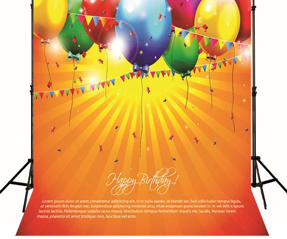 Digital Printing Happy Birthday Colorful Balloons by ArtBackground