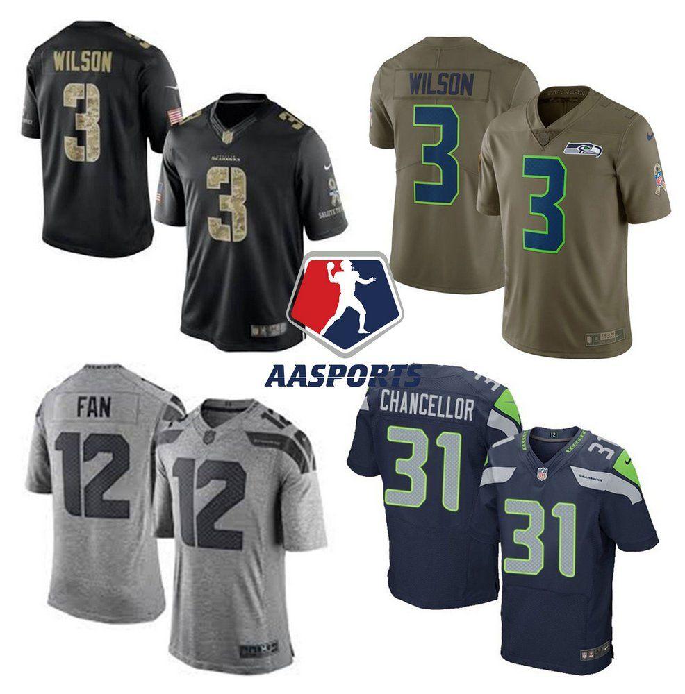 292866fd3e Camisa Seattle Seahawks - 3 Wilson - 12 Fan - 89 Baldwin - 31 Chancellor -