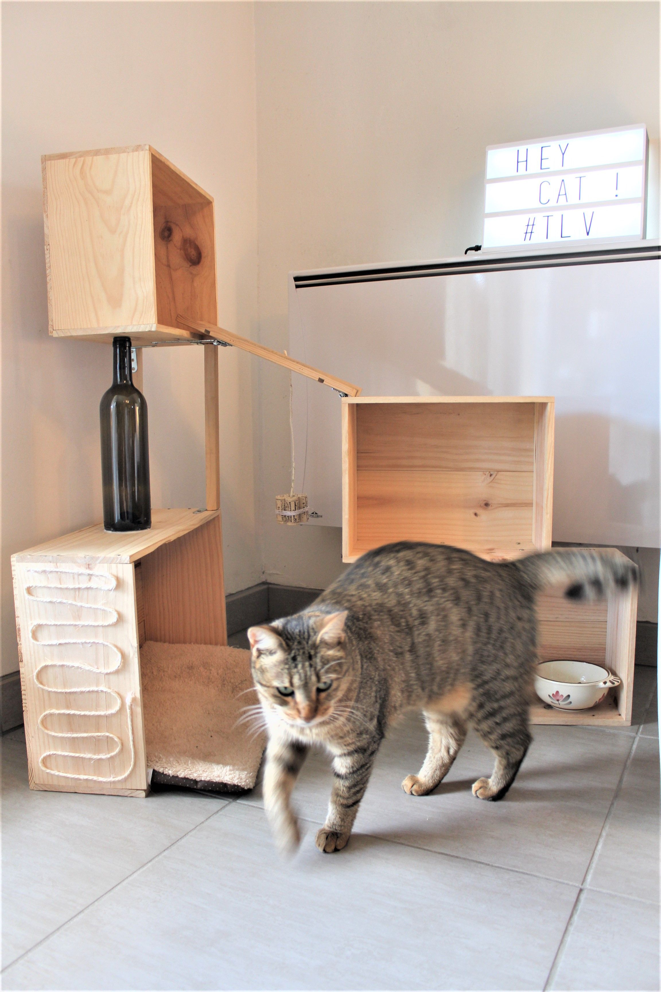 Arbre A Chat Mural Design cat toy tree arbre chat diy wine box wood caisse vin bois