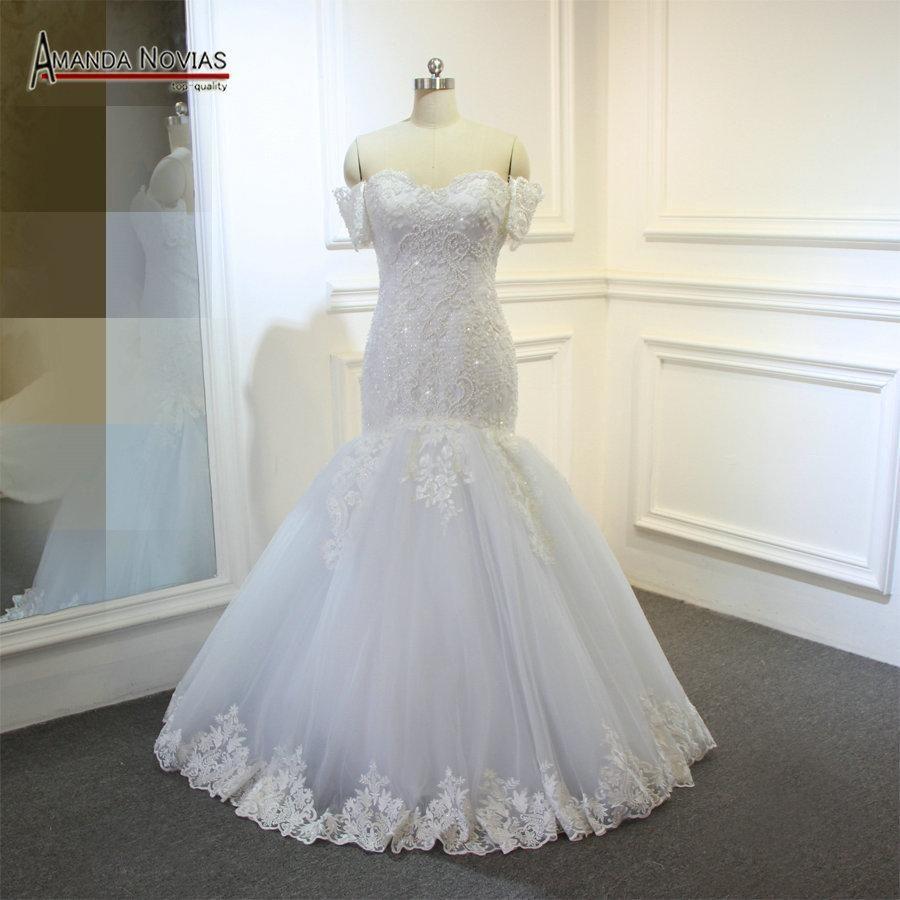 Real Sample Mermaid Pearl Patterns Wedding Dress With Detachable Sleeves Wedding Dress Patterns Wedding Dresses Bridal Gowns Mermaid [ 900 x 900 Pixel ]