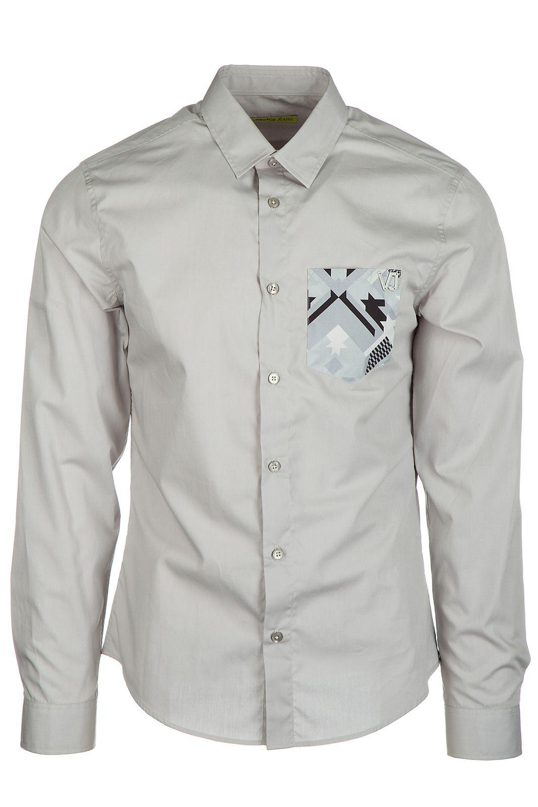 Menus long sleeve shirt dress shirt grey versace jeans men