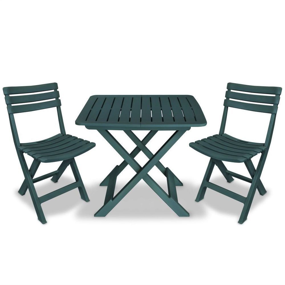 Plastic Bistro Set Green Colour Folding Table Chairs Outdoor