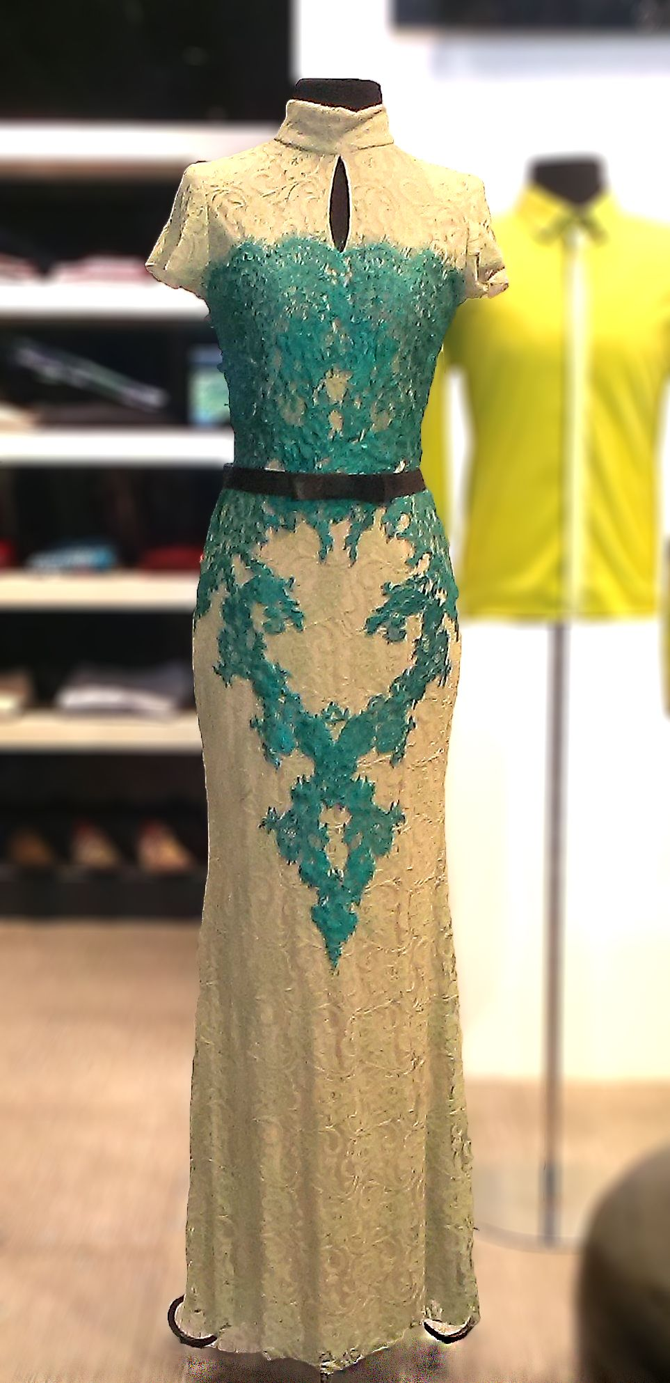 S Gown With Green Lace Accent And