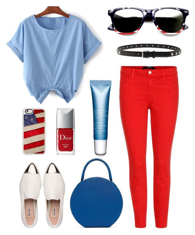 """America Casual"" by jocelynleebold on Polyvore featuring J Brand, Miu Miu, Mansur Gavriel, Casetify, Christian Dior and Clarins"