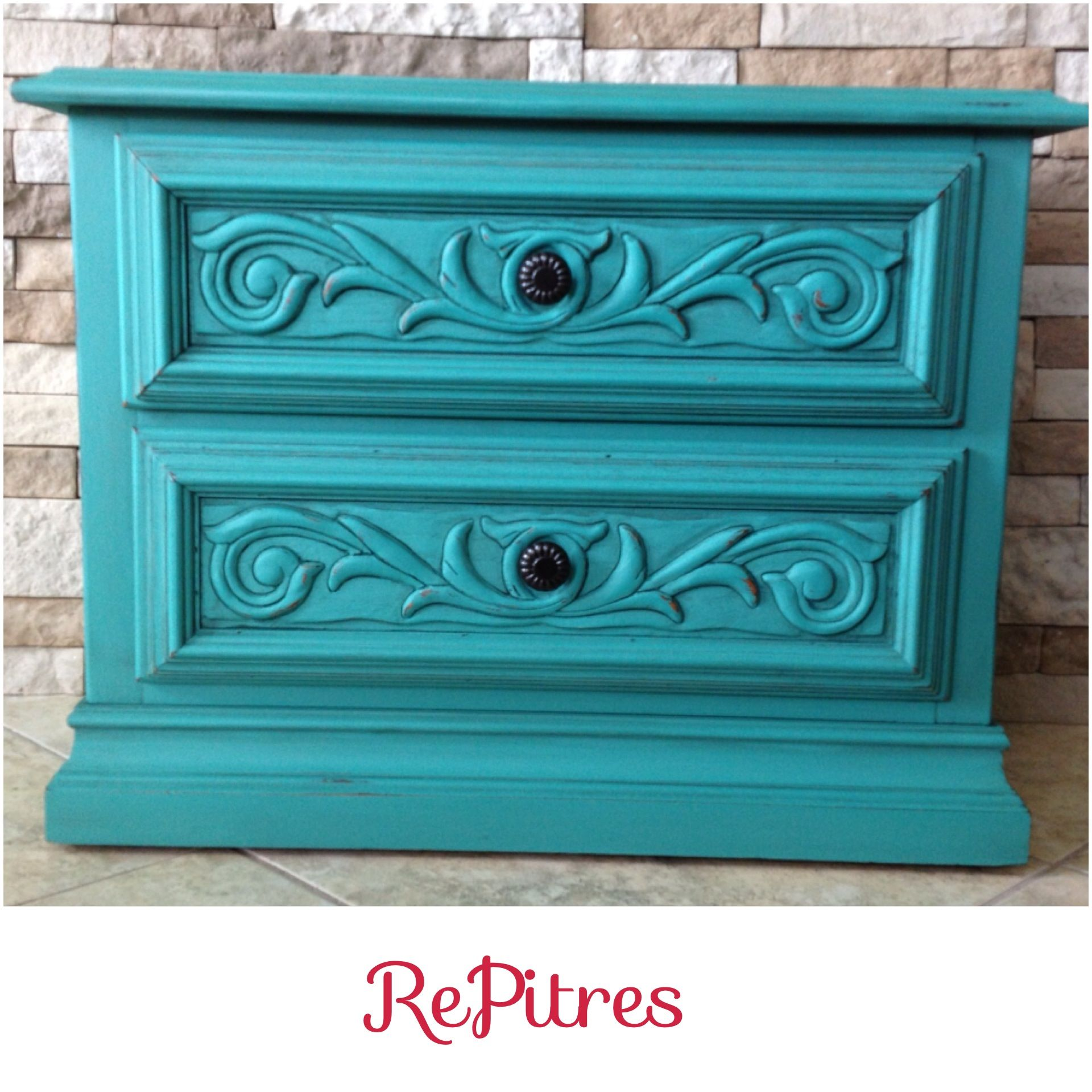 Turquoise Nightstand Painted In Sw Thermal Springs With Miss Mustard Seed Antique Wax Painted Furniture