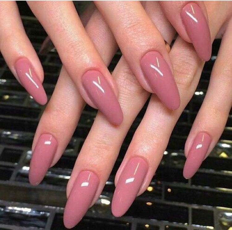 His Color But Different Nail Shape Long Nails Short Nails Ggtheblog Cranberry Nails Dusty Pink Nails Almond Acrylic Nails Designs Pink Nails