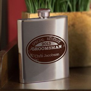 """WeddingDepot.com ~ Wingmans Flask - Special Reserve ~ Your best man and groomsmen can keep their finest libation fresh in this classy personalized """"Special Reserve"""" flask"""