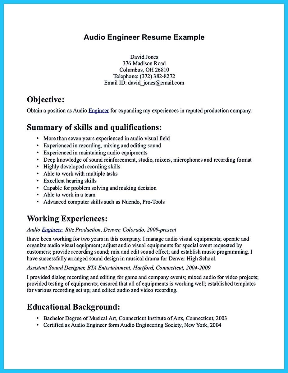 nice Crafting a Representative Audio Engineer Resume, Check more at ...