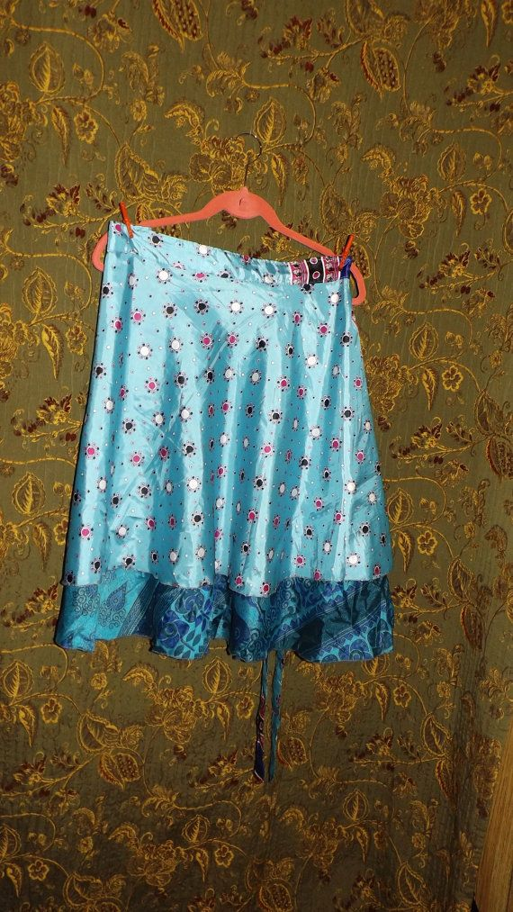 Silk Sari Wrap Skirt Teal Turquoise Aqua Reversible Vintage Saree