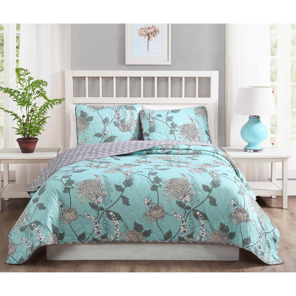 Amelie 3 Piece Aqua King Quilt Set Ymz006999 King Quilt Sets