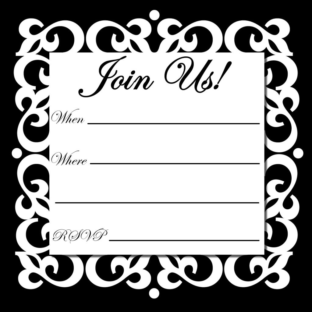 Black White Party Invite