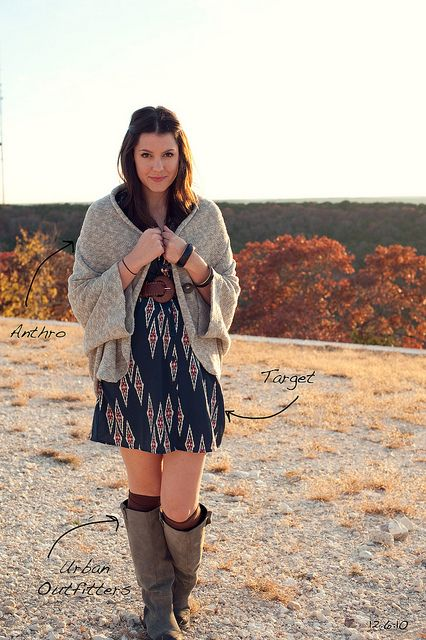 dress, boots, sweater