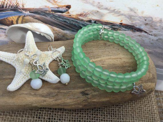 Sea Glass Bracelet earring set lotus beach glass bracelet Jewelry set bohemian…