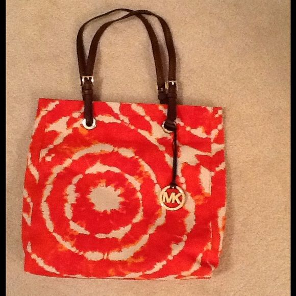 Nwot Michael Kors Tie Dye Handbag Brand New Canvas Tote Orange And Cream Great For Summer Bags Totes