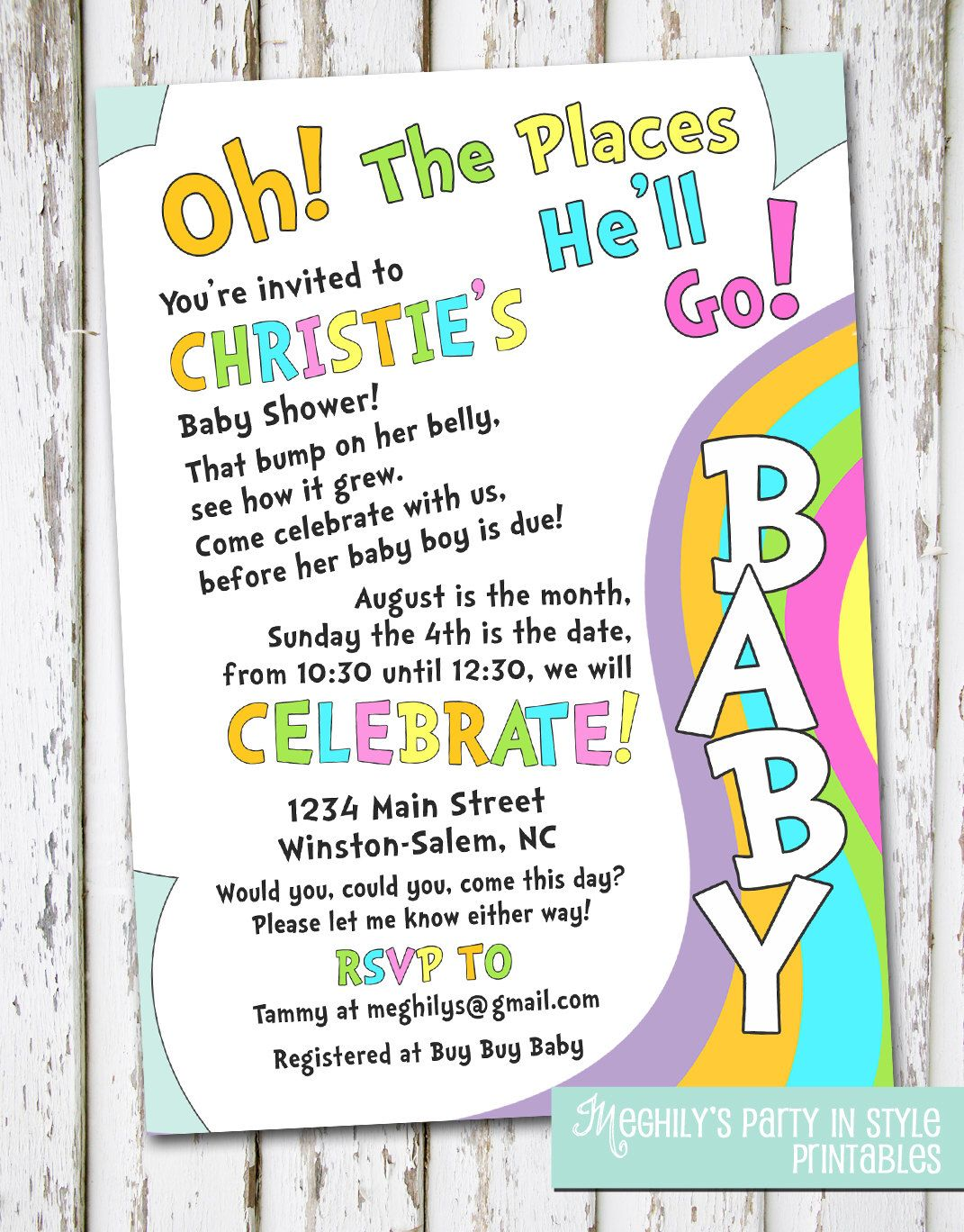 Oh, The Places You\'ll Go - baby shower invitation by Meghilys on ...