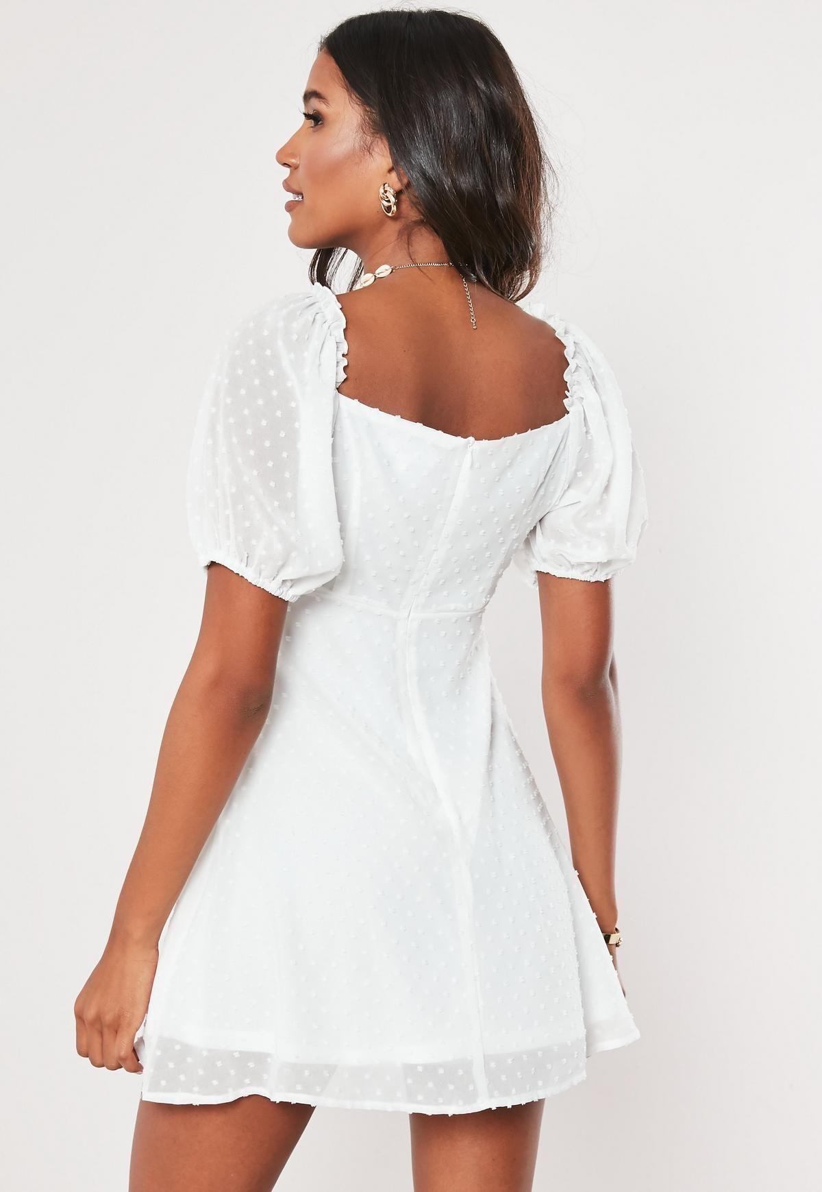 Details about  /White floral V neck fit /& flare skater dress Size Large//L