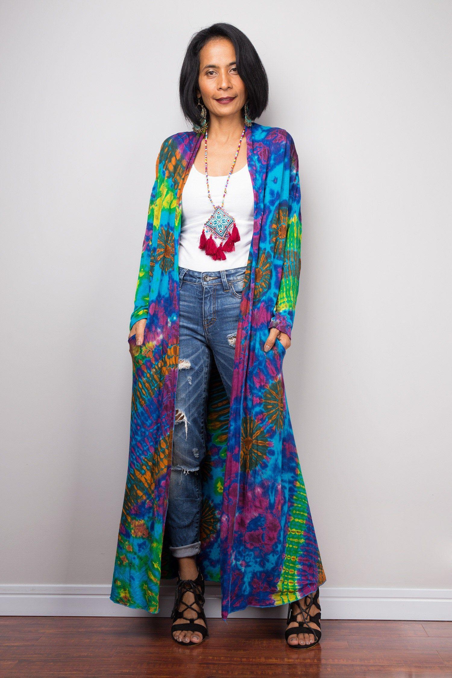 Hippie Rainbow Duster Vest with pockets Festival wear Tie dye robe Beach cover up Tie Dye Cardigan Kimono
