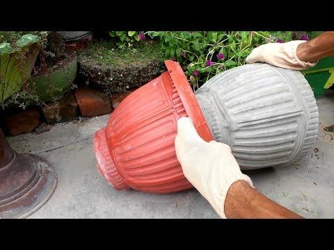 How to make beautiful cement pot at home easily | DIY Creative flower pots ideas.