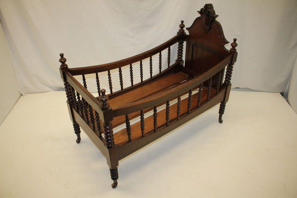 Set Pieces Antique Victorian Walnut Childs Bed Cradle Or