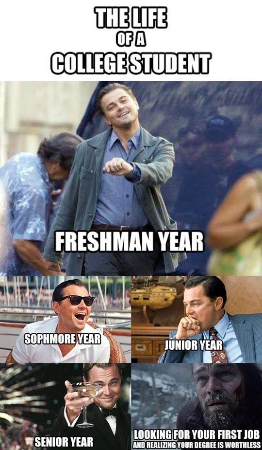 Leonardo Dicaprio college student meme   College memes ...