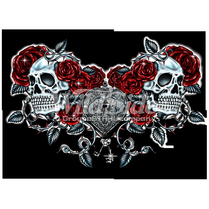 SKULLS ROSES KEY HEART - 16172 - The WildSide