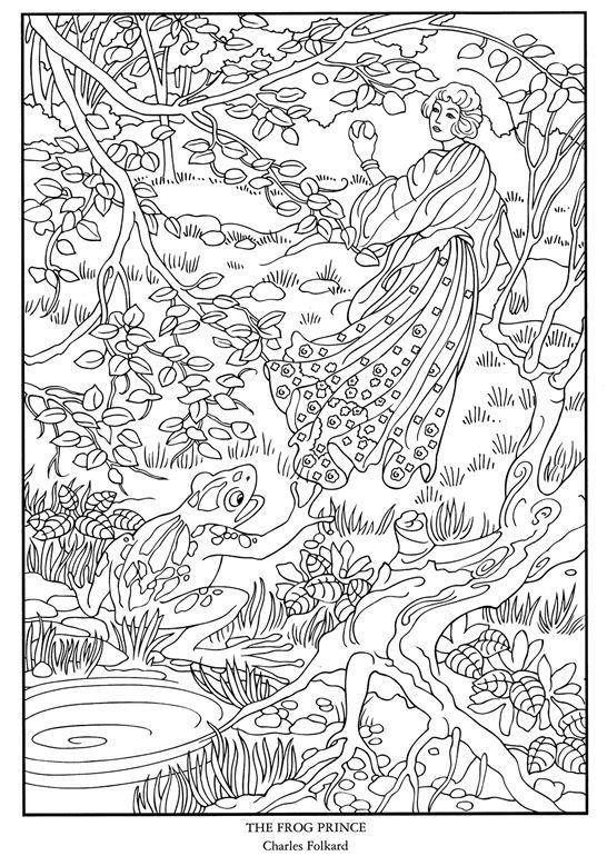 color your own great fairy tale illustrations free coloring page printables dover publications frog princess intricate design - Dover Coloring Pages Printable