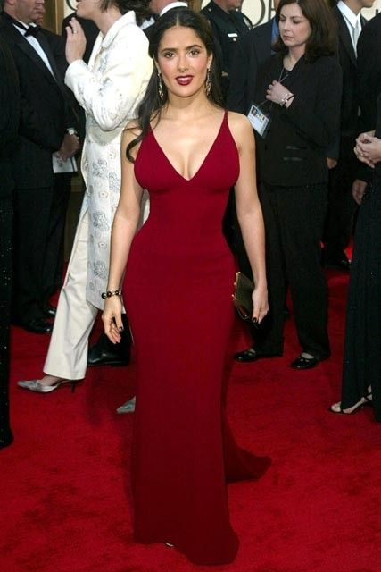 65 Best Golden Globe dresses of all time - SALMA HAYEK - Salma Hayek showed  off her enviable hourglass figure in this deep crimson corseted Narciso ... b05b43f68007