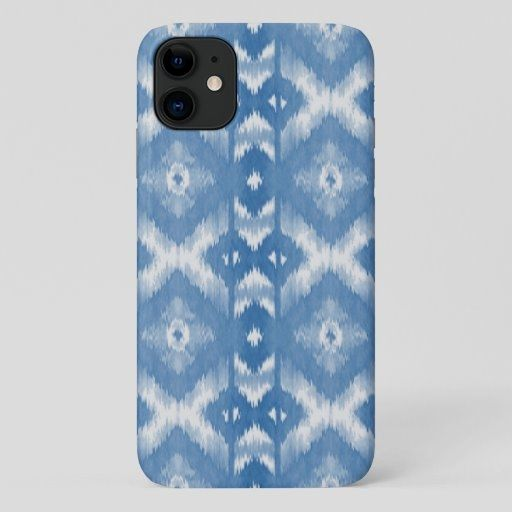 Slate Blue White Ikat Tribal Art Pattern iPhone 11 Case  dy home decor, peeps decorations, mantal decor #homedecorator #homedecorstore #homedecortips