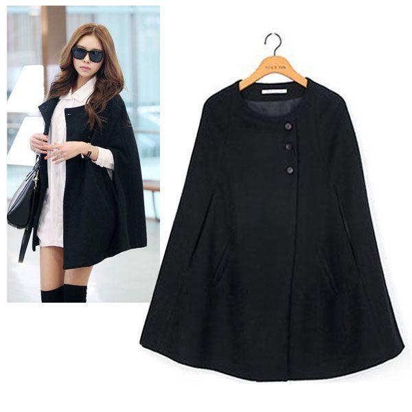 S-M-L-XL-Women-Batwing-Wool-Poncho-Winter-Coat-Jacket-Loose-Cloak ...