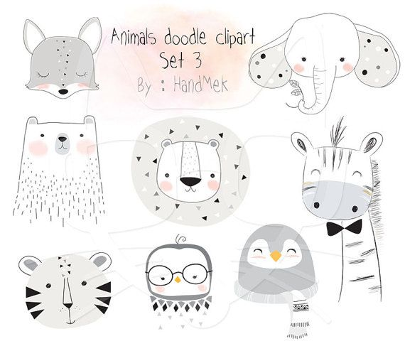 Animals doodle set 3 Woodland Clipart Animals clipart | fotobuch ...